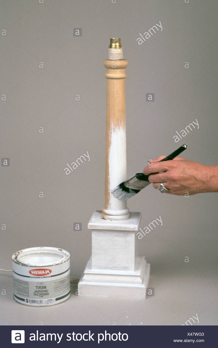 FORMock marble Reproducing a marble effect need not be as tricky as it appears Step by step grey marble paint effect After - Stock Image