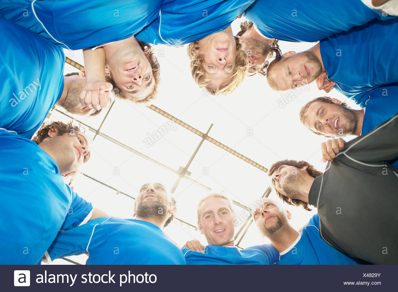 Football team from below - Stock Image