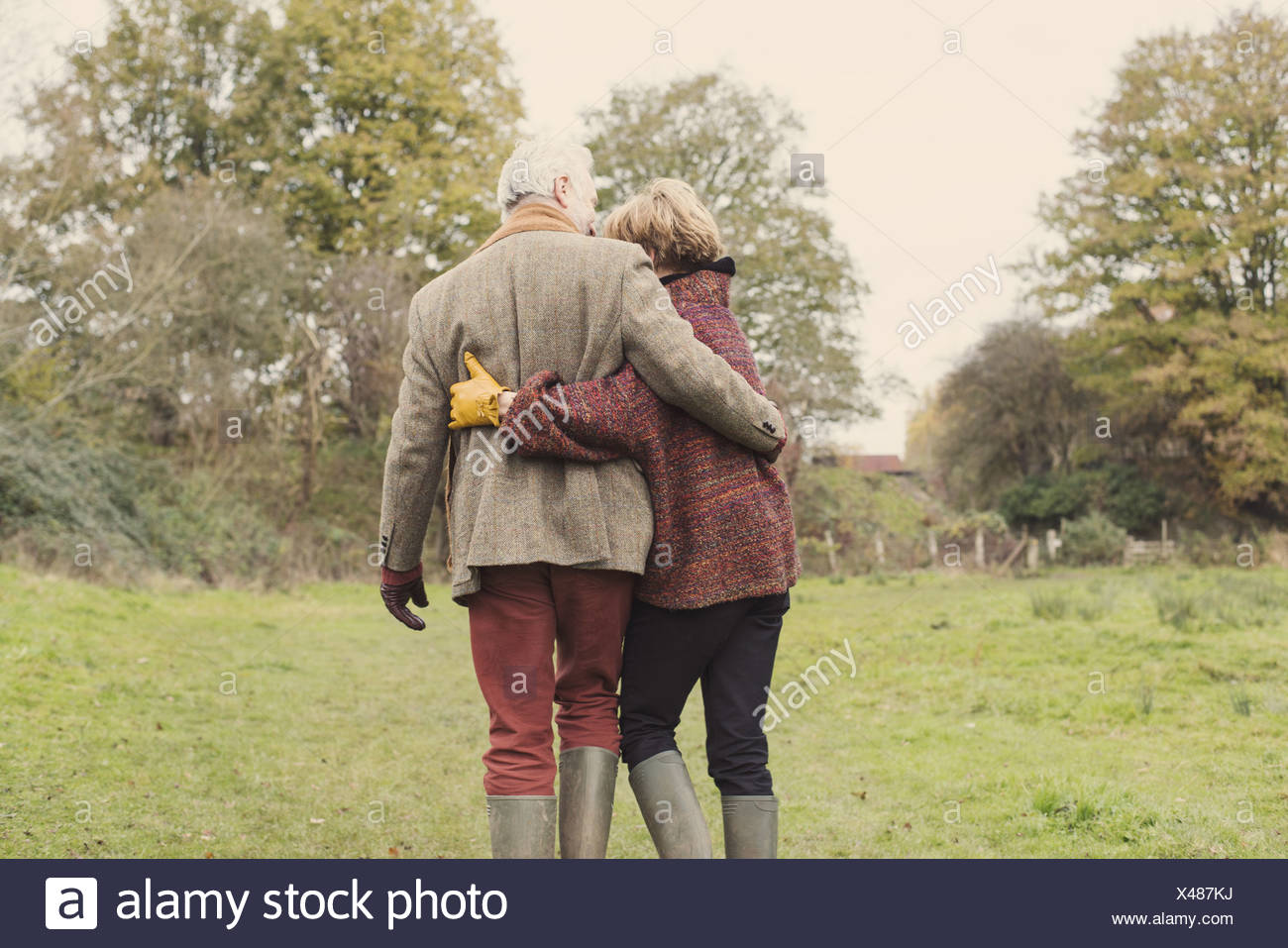 Couple in garden with arms around each other, rear view - Stock Image