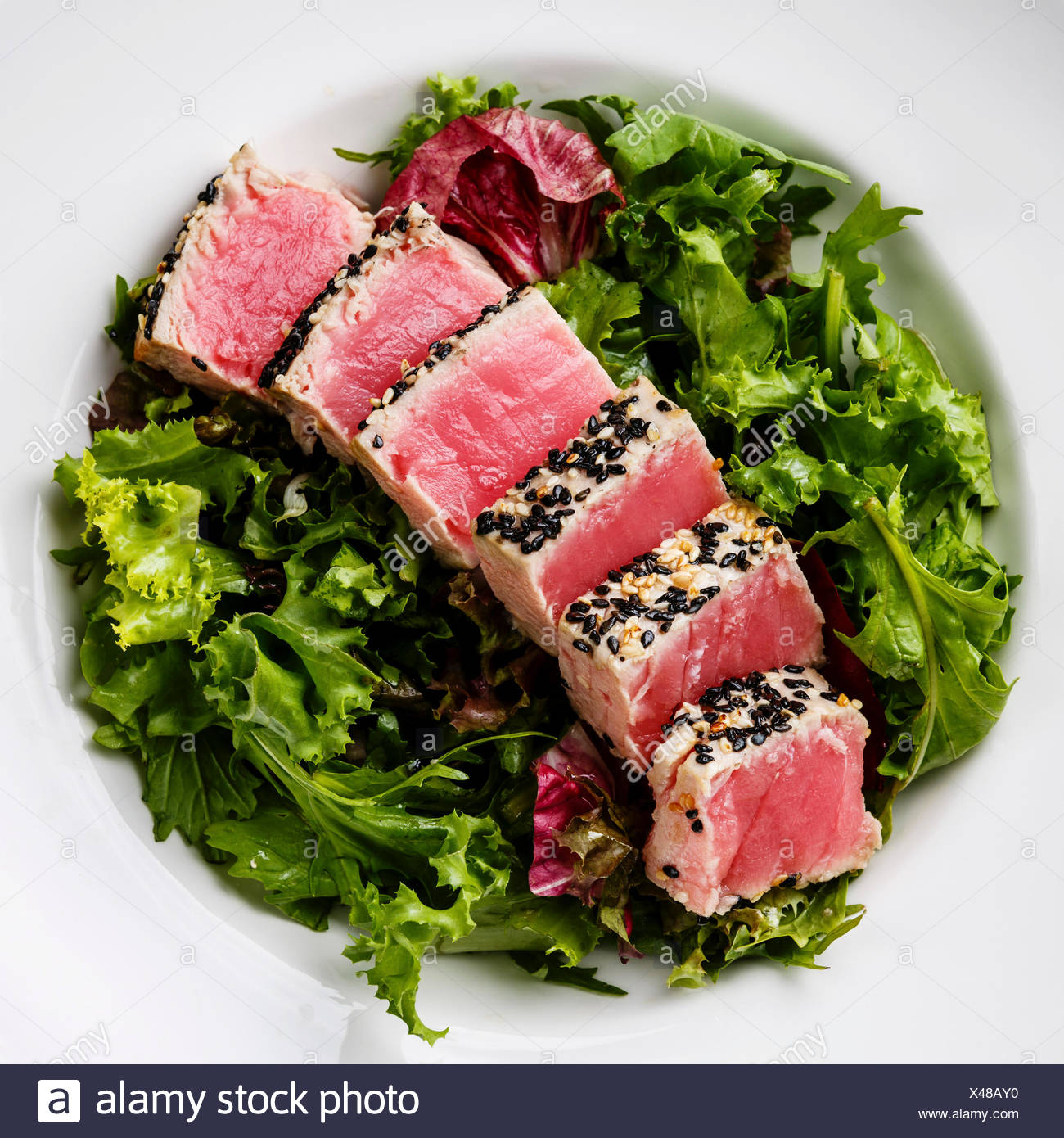 Sliced grilled Tuna steak in sesame on Green salad close up - Stock Image