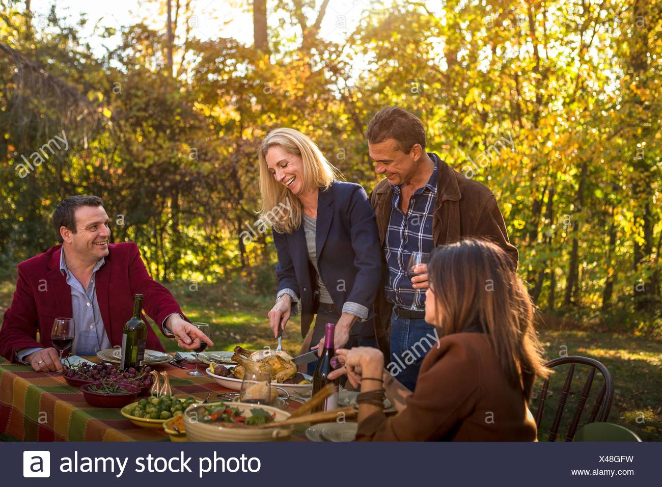 Two mature couples serving roast dinner at garden party - Stock Image