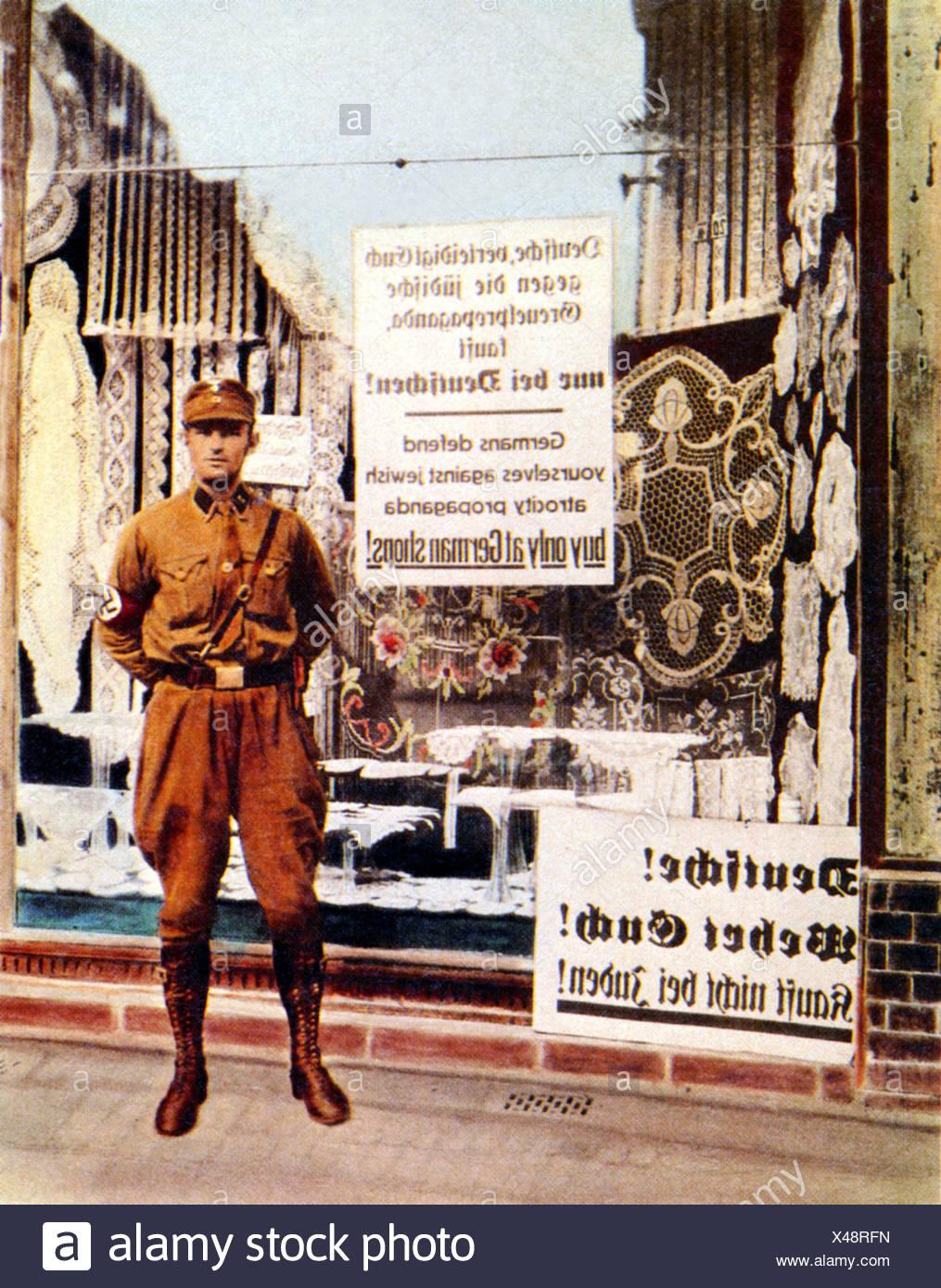 Brown, Shirt, Berlin, SA, standing, Jewish, store, propaganda, buy, German, shops, boycott, Germany, Third Reich, Tinted, photol Stock Photo