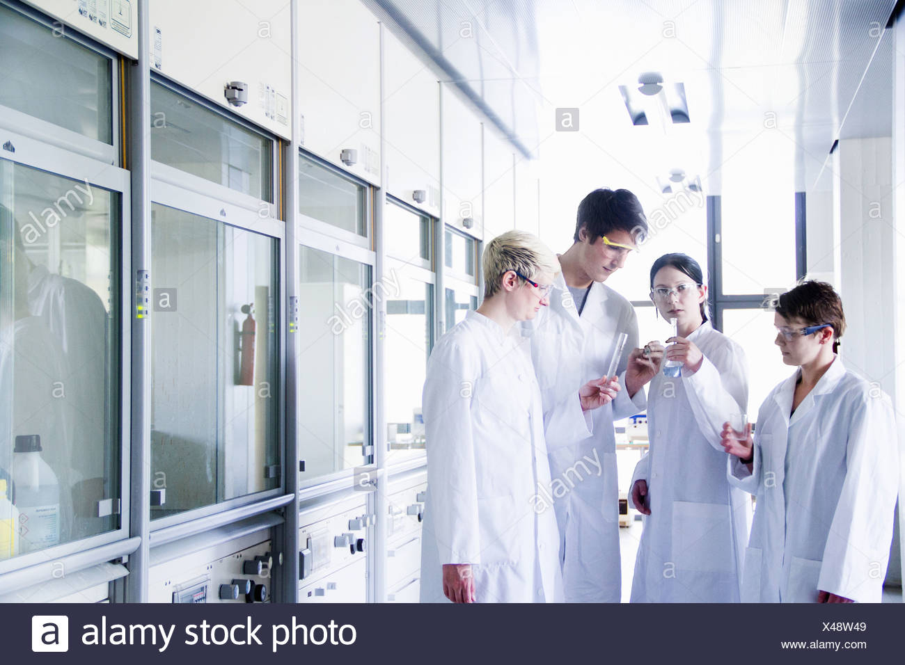 Chemistry students looking at chemicals in laboratory - Stock Image