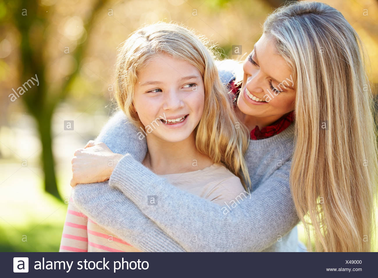 Mother And Daughter In Countryside - Stock Image