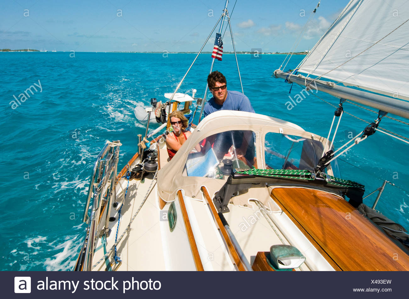 A family out for a day sail in Georgetown, Exumas - Stock Image