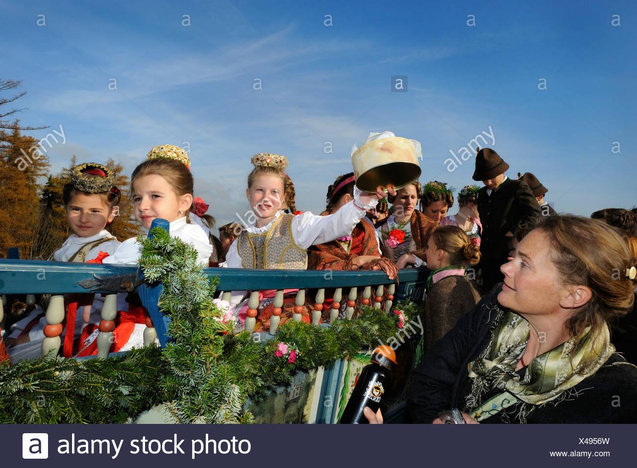 Leonhardifahrt, a procession with horses for the feast day of Saint Leonard of Noblac, Bad Toelz, Upper Bavaria, Bavaria - Stock Image