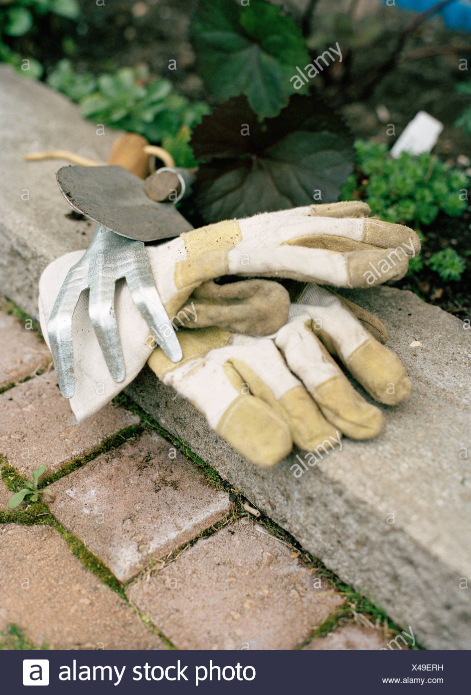 Gloves and gardening tools. - Stock Image