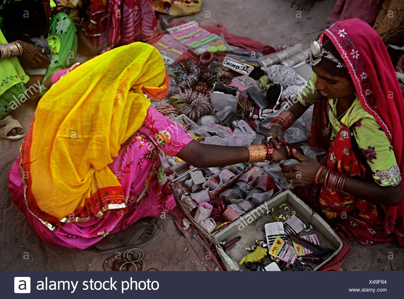 Bangle seller - Stock Image