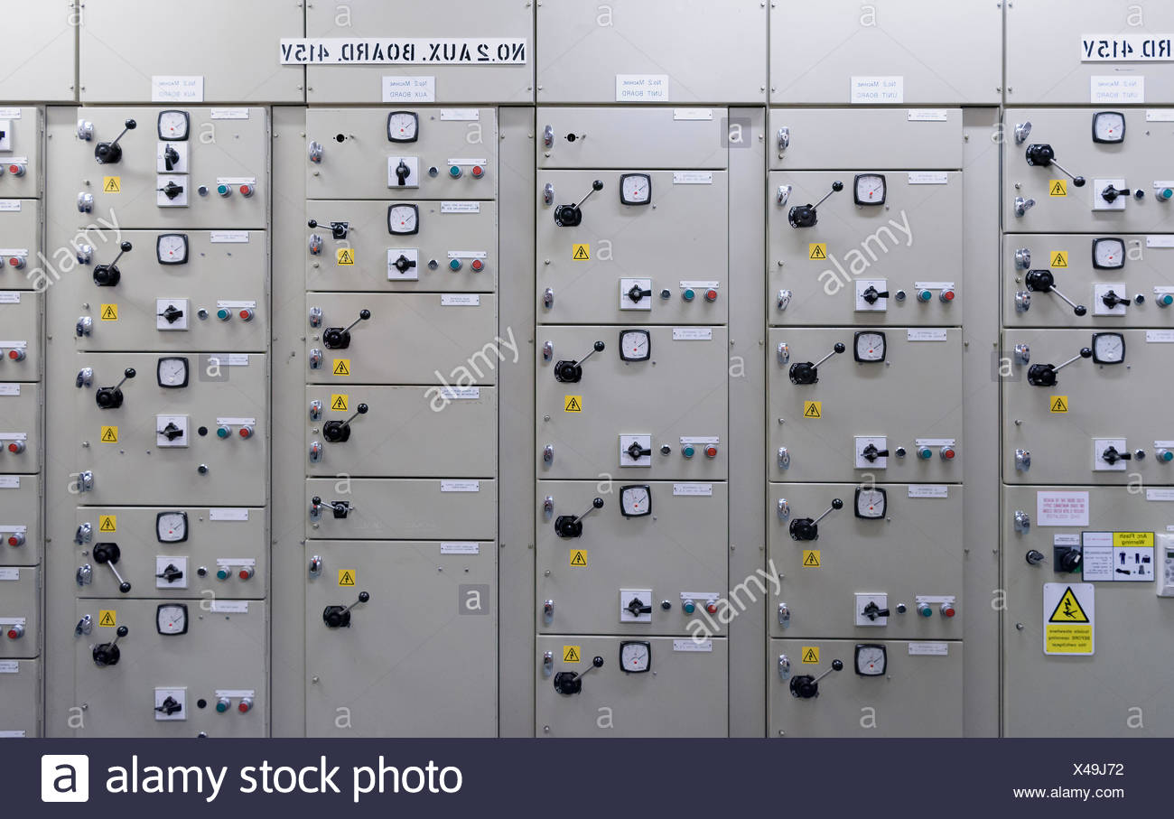 Switch gear in hydroelectric power station - Stock Image