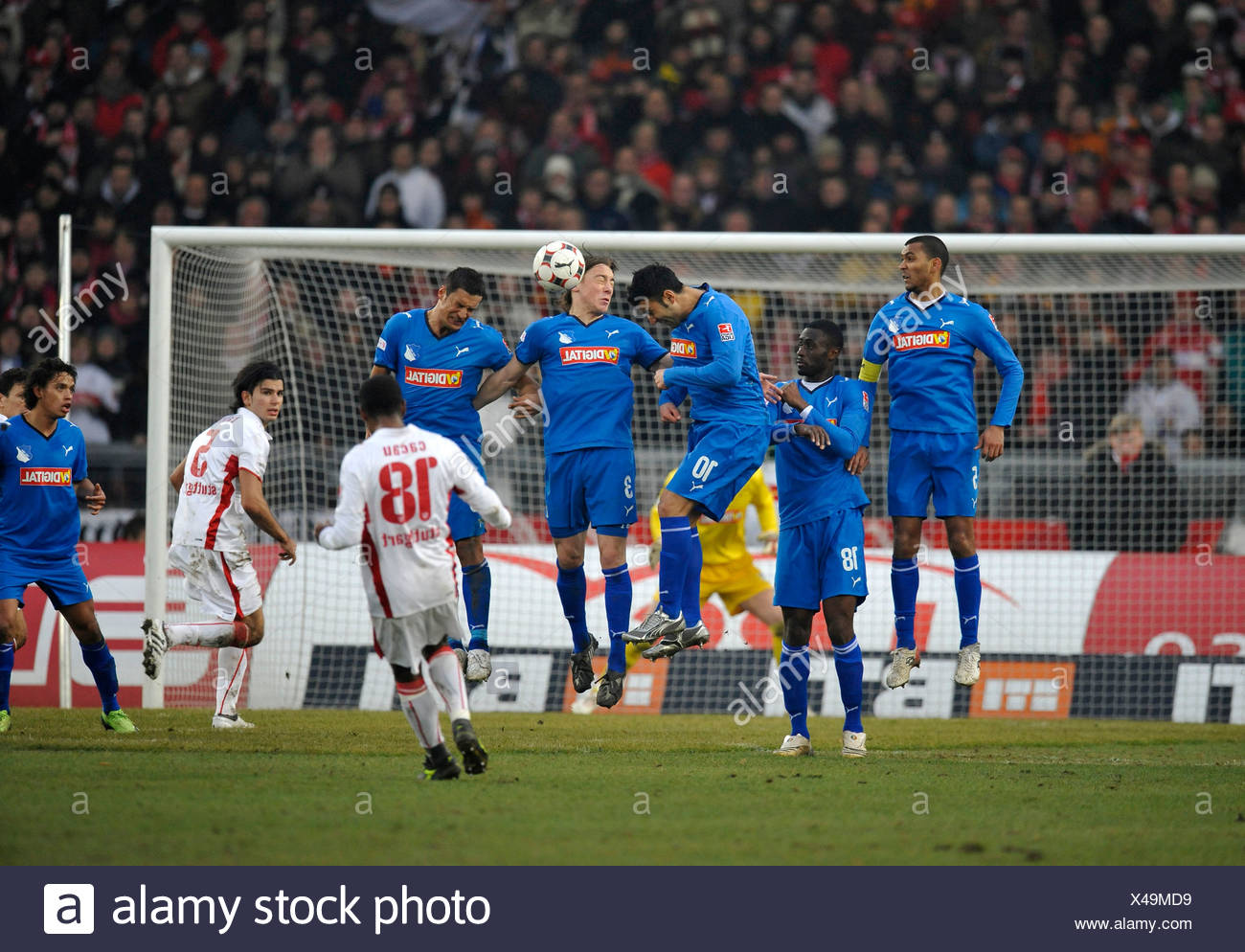 Penalty kick by Cacau, VfB Stuttgart, from left to right, Isaac Vorsah, Boubacar Sanogo, Selim Teber, Matthias Jessle, Sejad Sa - Stock Image