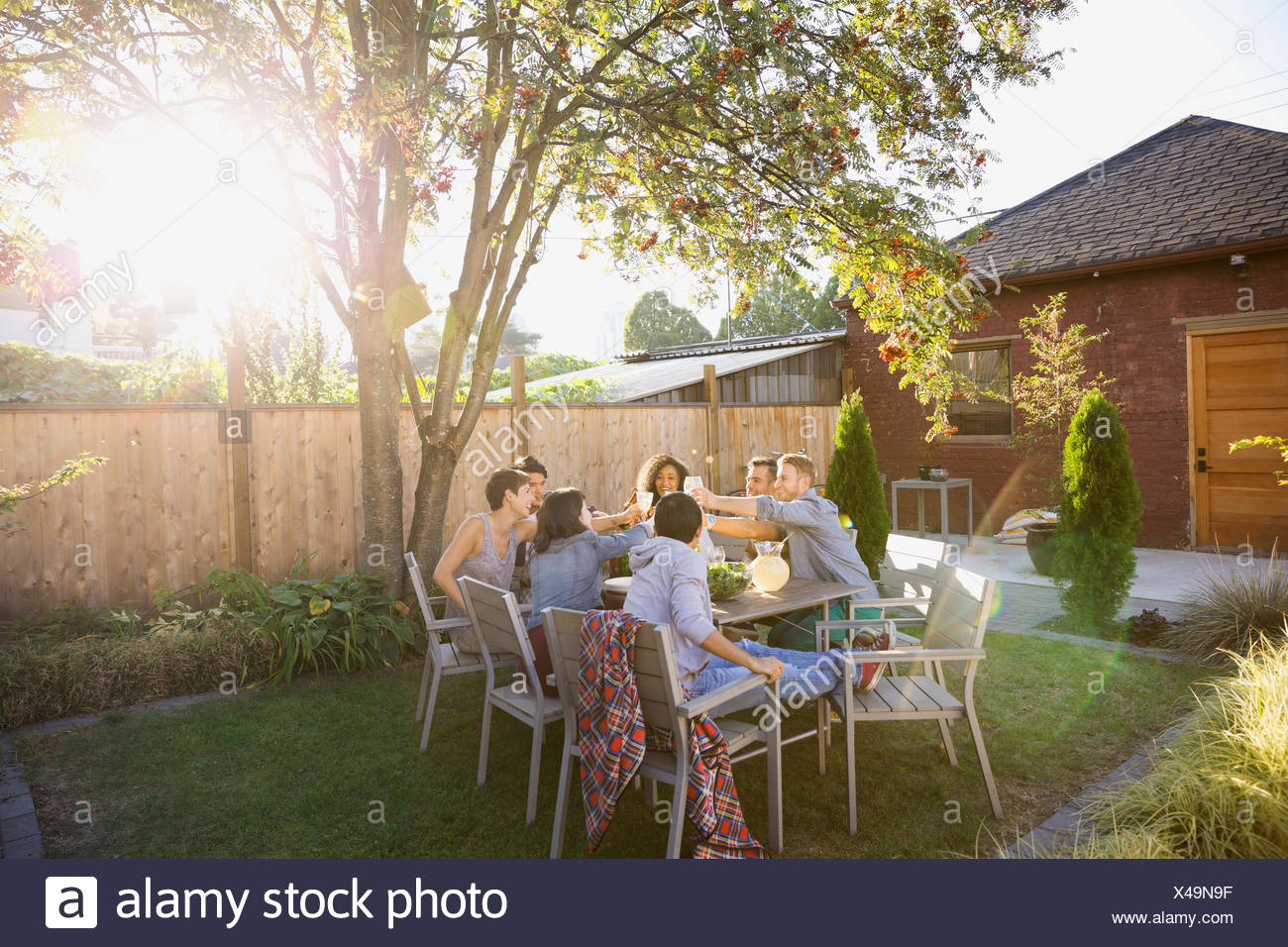 Friends toasting drinks at table in sunny backyard - Stock Image