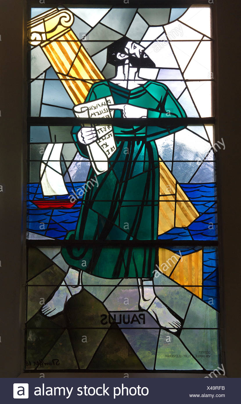 Apostle Paul, stained glass window of the Evangelical reformed church Trubschachen, Canton of Bern, Switzerland Stock Photo
