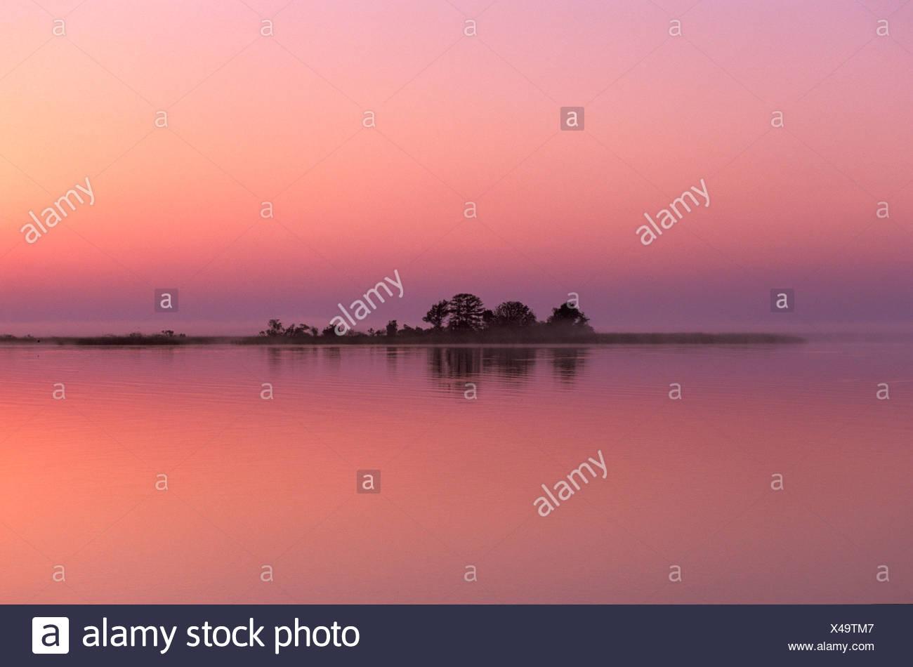 Sunrise, Apalachicola, Gulf Coast, Florida, USA, United States, America, island, red - Stock Image