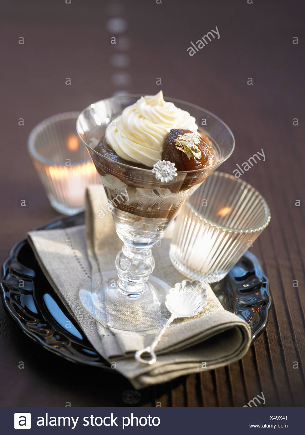Mont-blanc and candied chestnut dessert - Stock Image