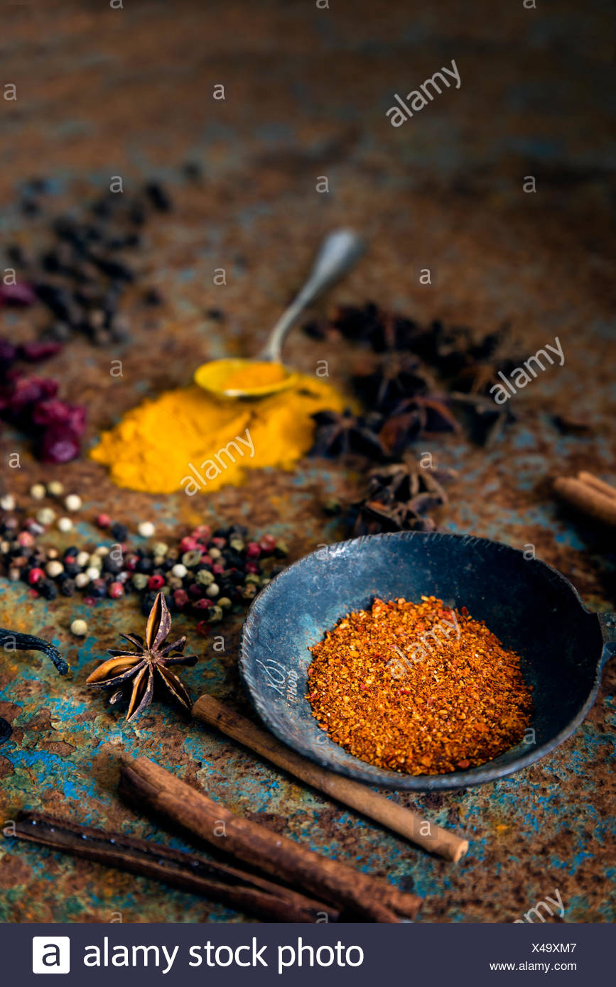 Arrangement of spices - Stock Image