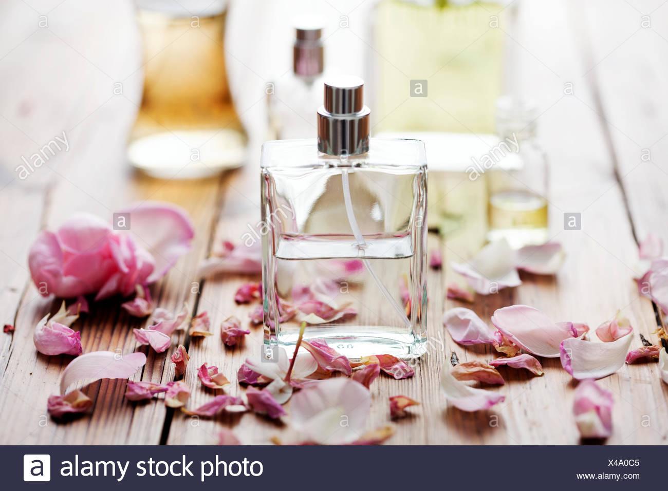 bottle perfume cosmetics - Stock Image