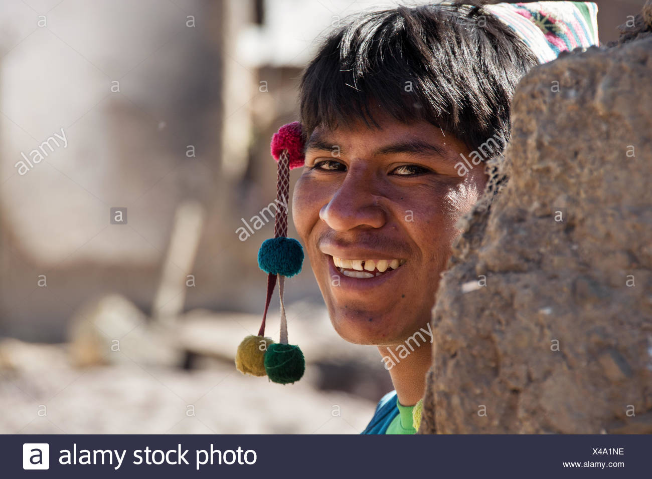 Curious boy with hat, boarding school, Potosi, Bolivia - Stock Image