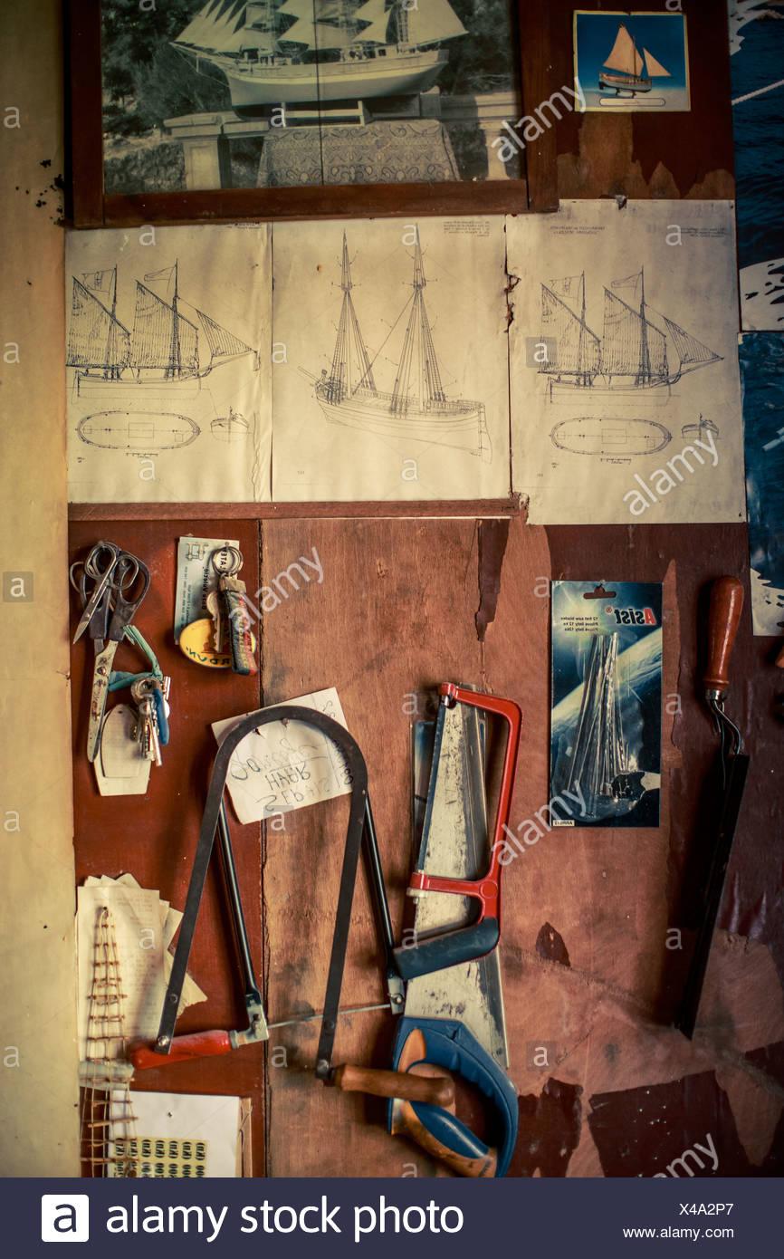 Tools In Workshop, Island Hvar, Stari Grad, Dalmatia, Croatia - Stock Image