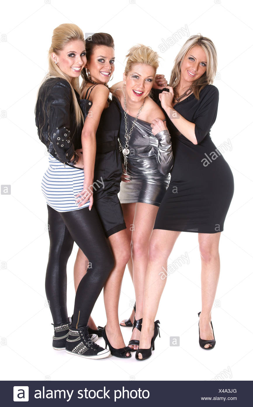 Four Attractive Girls Celebrating - Stock Image