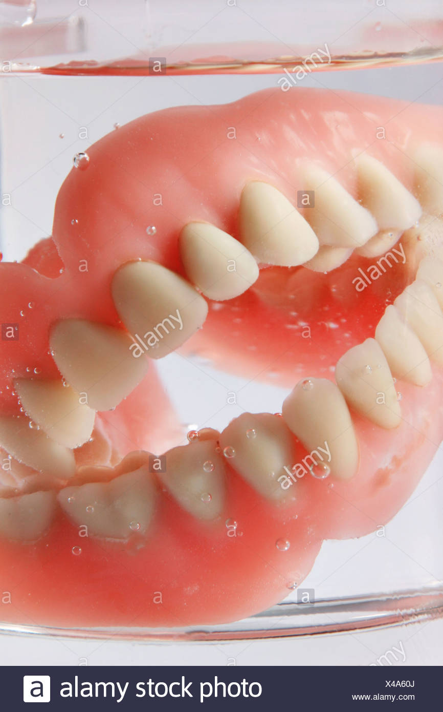 Artificial dentures in a water glass Stock Photo