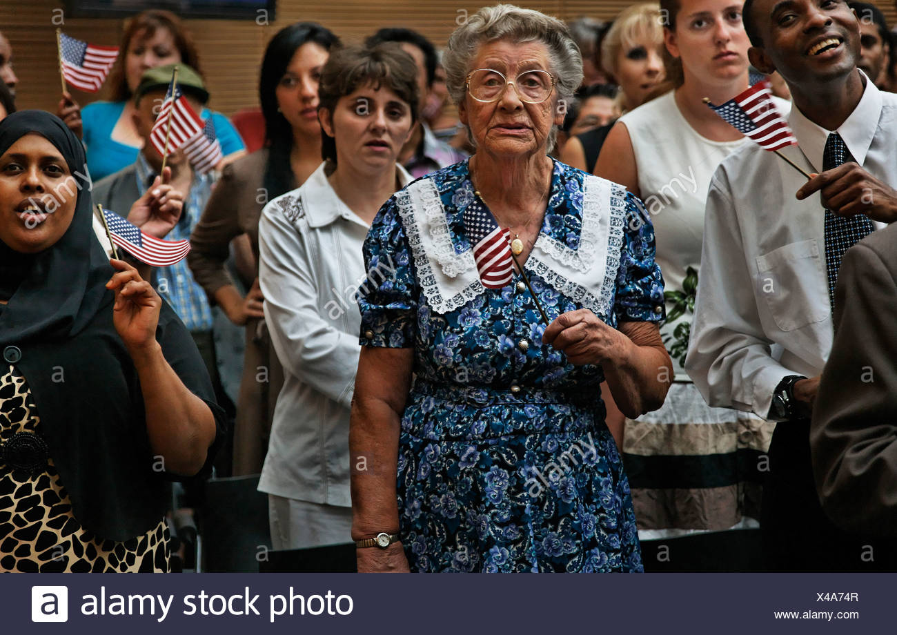 A naturalization ceremony in Phoenix. - Stock Image