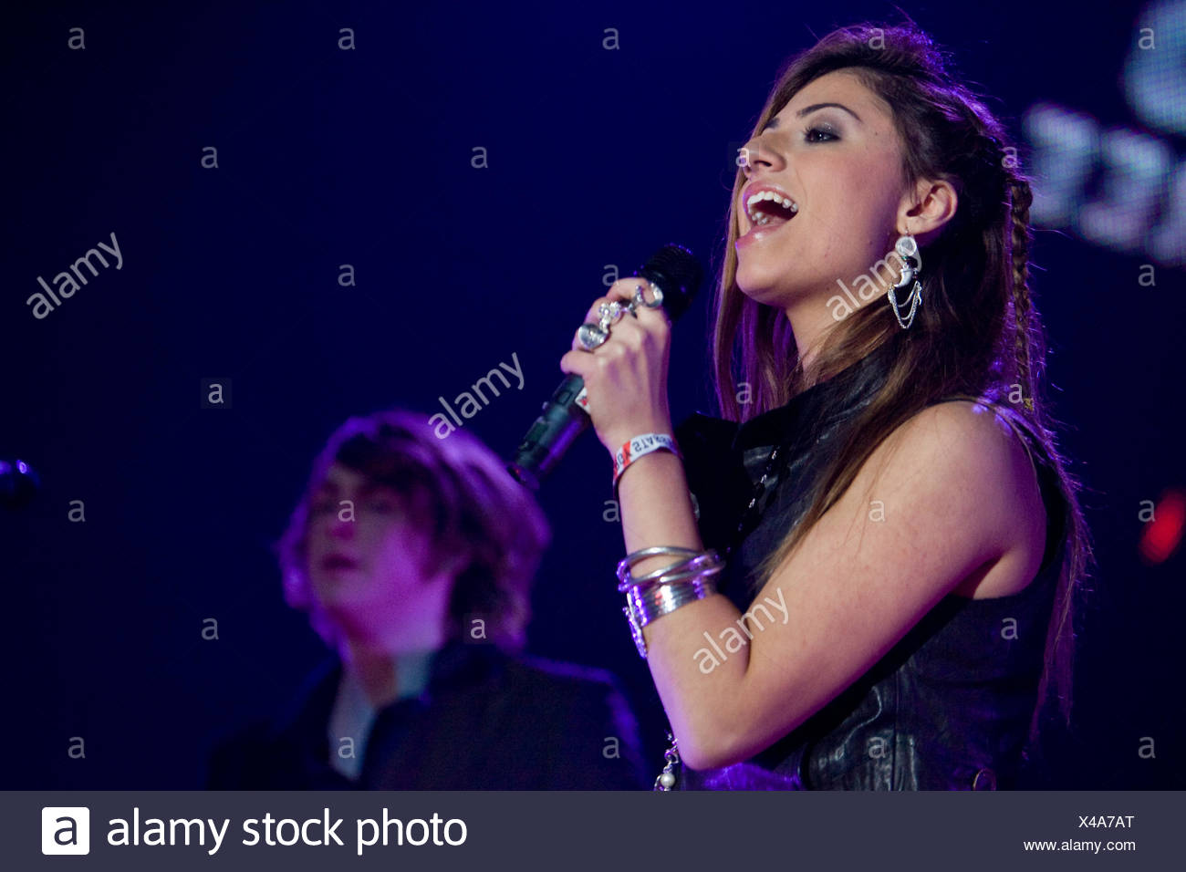 Australian pop singer and newcomer Gabriella Cilmi, live at the Energy Stars For Free in the Zurich stadium, Switzerland - Stock Image
