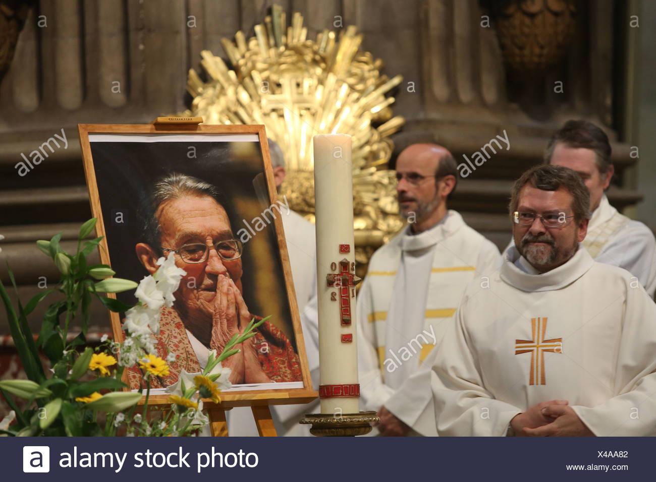 Saint Sulpice church. Tribute to father Pierre Ceyrac. Paris. France. - Stock Image
