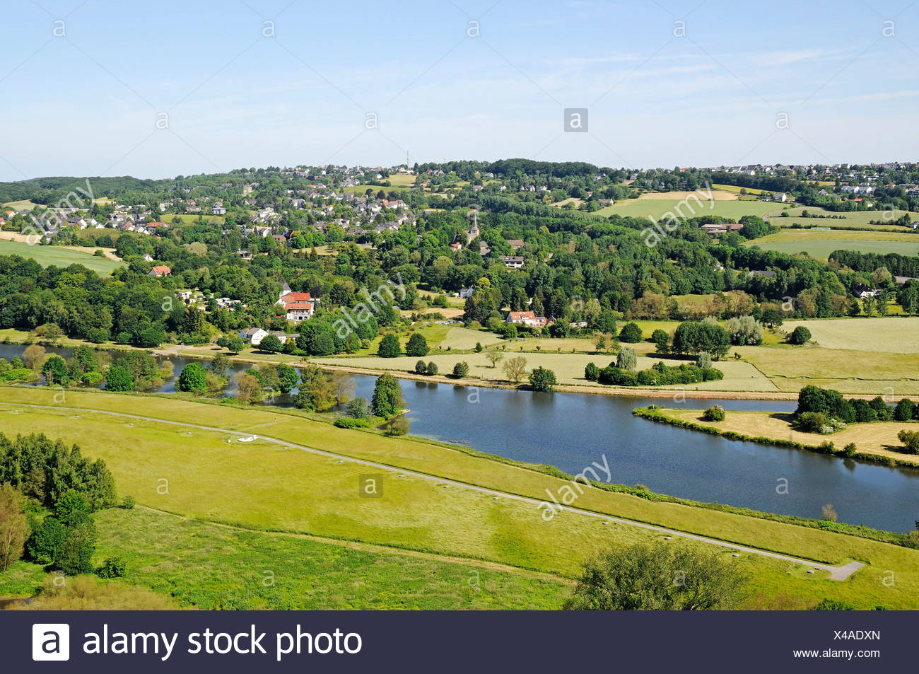 Bochum Stiepel, view from the castle to the Ruhr valley and the river Ruhr, Blankenstein, Hattingen, North Rhine-Westphalia, Ge - Stock Image