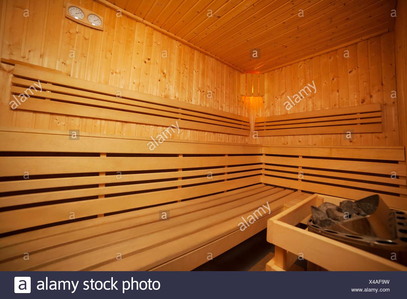 Interior of wooden sauna bath Debica, Poland - Stock Image