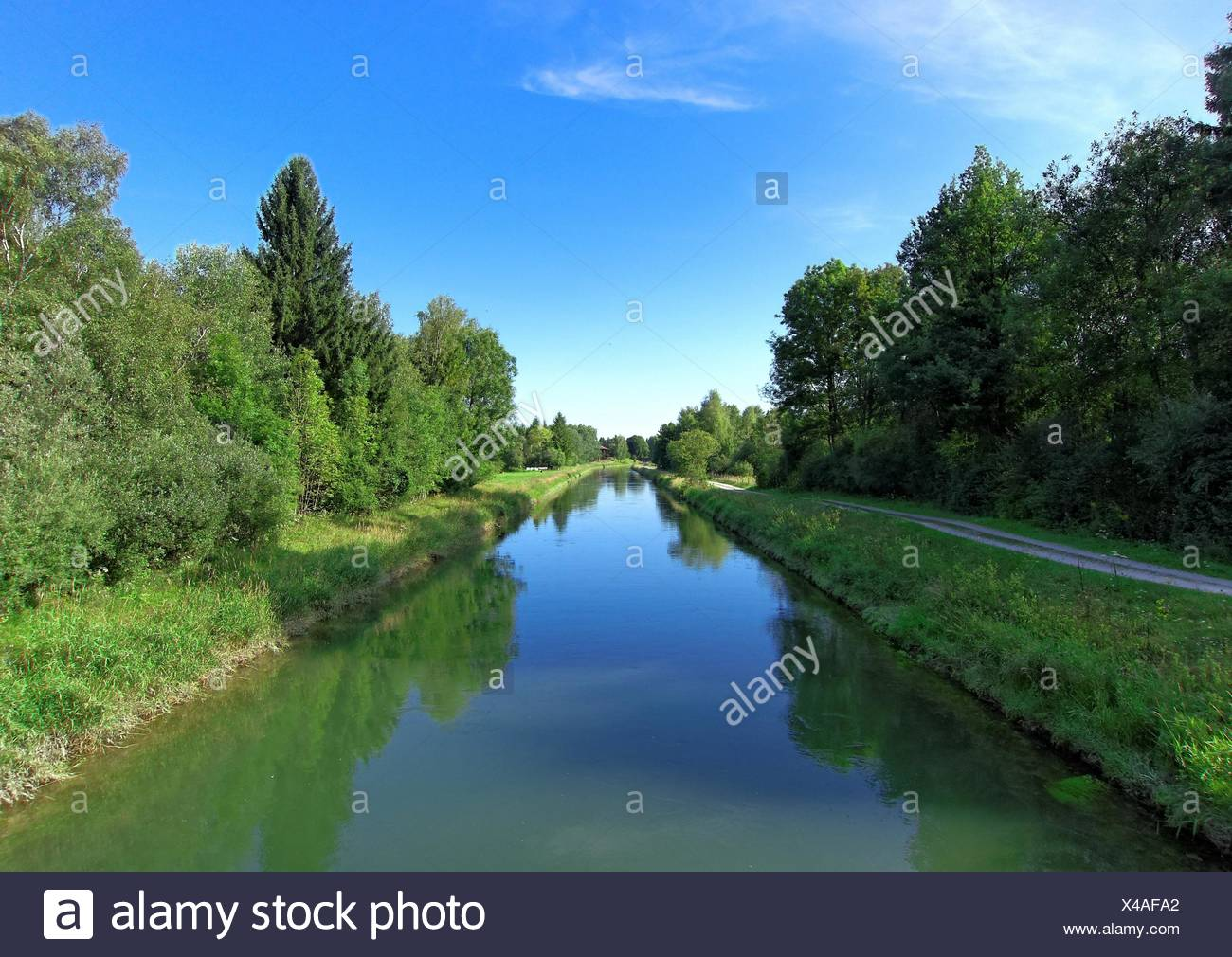 geography / travel, Germany, Bavaria, Baierlach, Loisach Channel, Additional-Rights-Clearance-Info-Not-Available - Stock Image