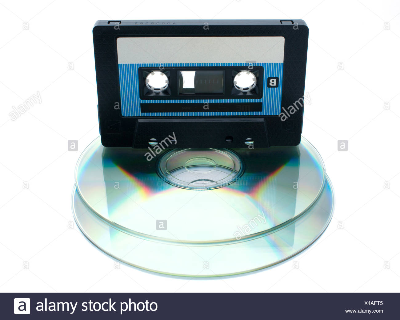 Analog audio tape cassette and digital compact disc on a white background - Stock Image