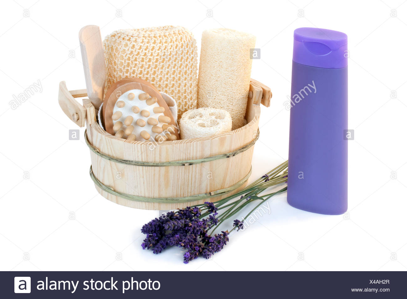 Shower gel with blossoms - Stock Image