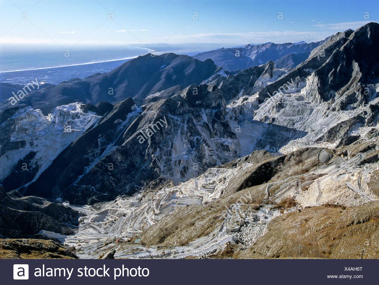 Marble quarries, Campo Cecina near Carrara, Province of Massa-Carrara, Tuscany, Italy, Europe Stock Photo