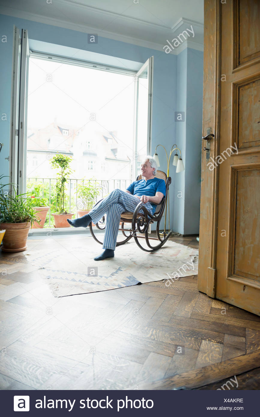 Excellent Mature Man Sitting In Rocking Chair Stock Photo 278059586 Pdpeps Interior Chair Design Pdpepsorg