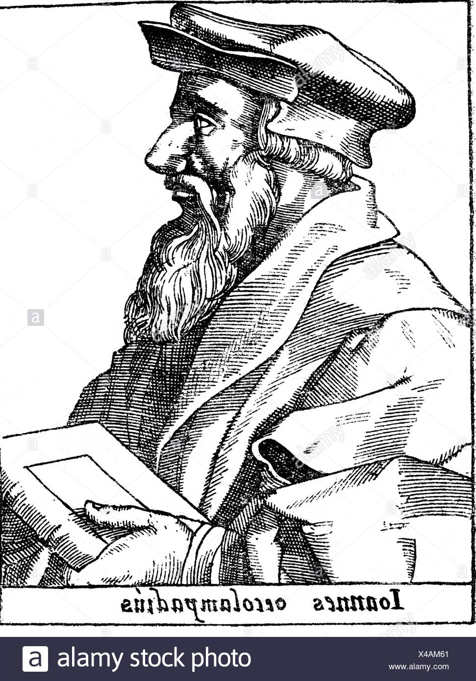 Oecolampadius, Johannes, 1482 - 24.11.1531, German reformer, half length, woodcut, 16th century, , Additional-Rights-Clearances-NA - Stock Image