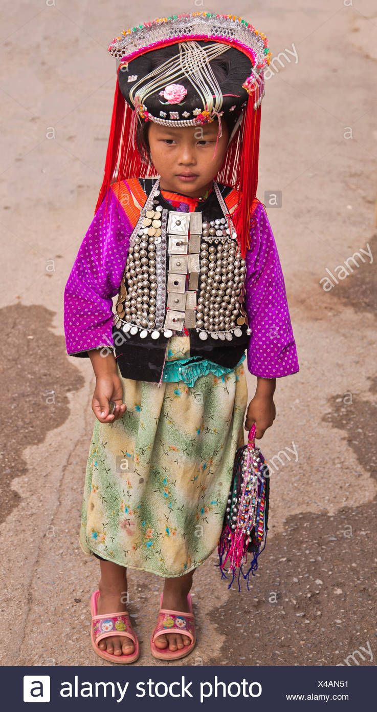 Girl of the Lisu ethnic group, one of the 55 officially recognized minorities of the People's Republic of China, Mae Ai - Stock Image