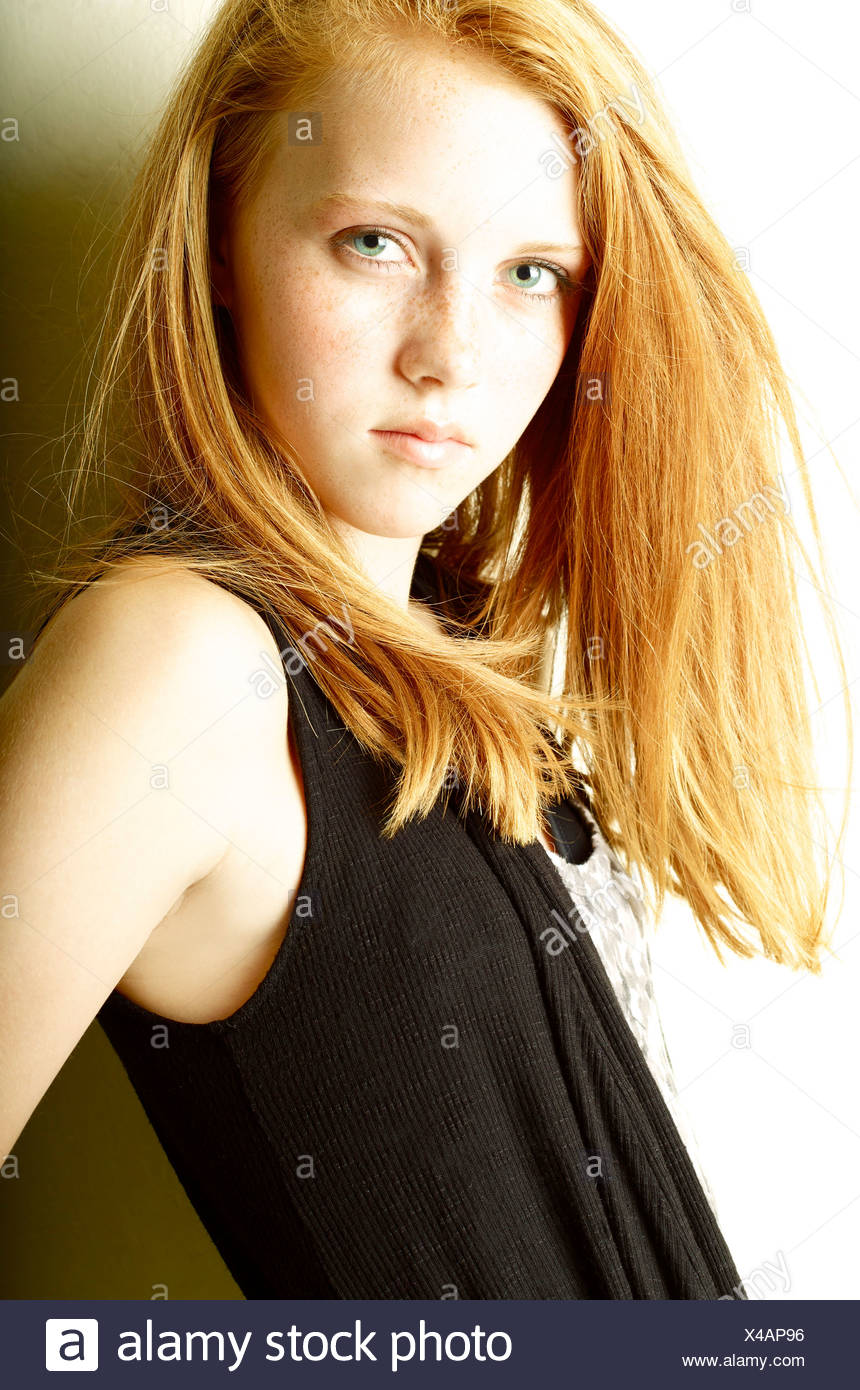 teen Freckled posing redhead