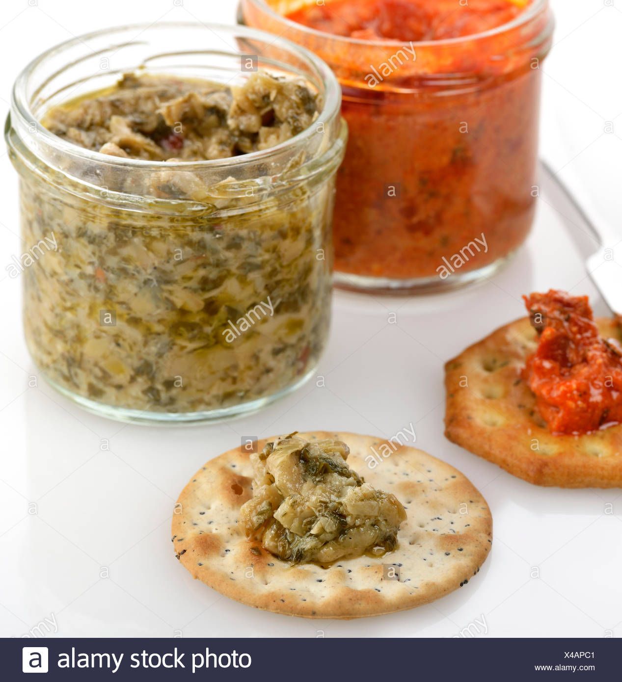 Spreads With Crackers - Stock Image