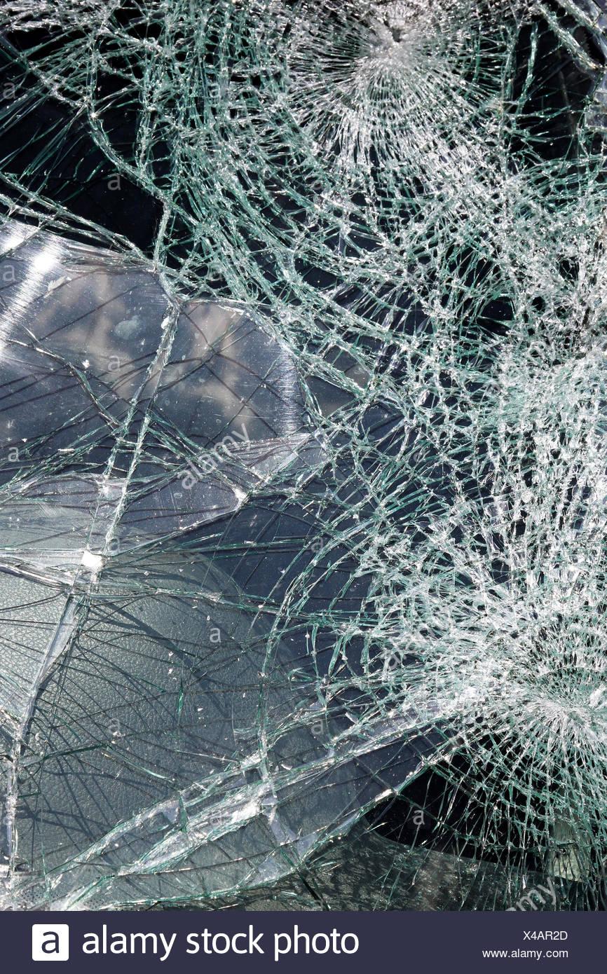 Cracked windshield - Stock Image