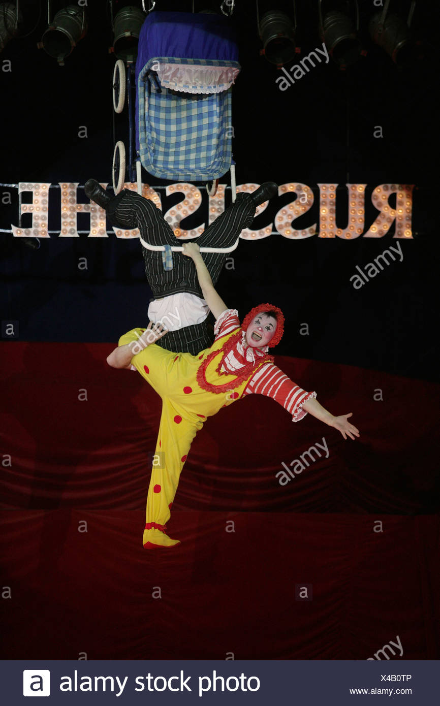 Clown Oleg Konstantinowitsch Popow performance in the russian circus - Stock Image