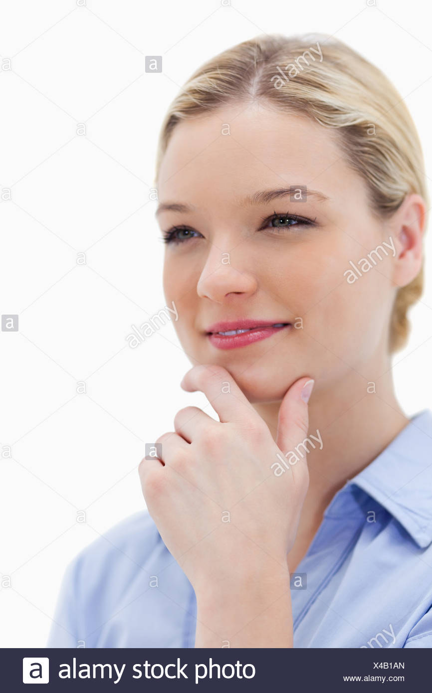 Young woman in thinkers pose - Stock Image