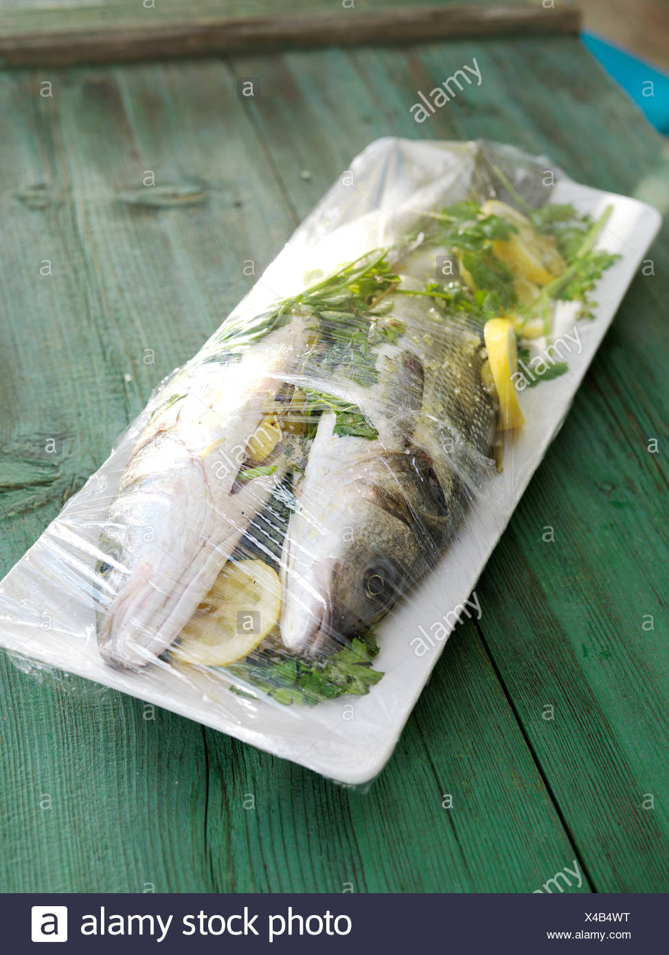 Fish, branzino or European sea bass, raw, spicy, transparency, - Stock Image