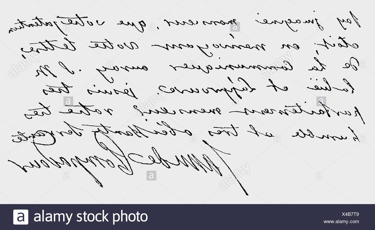Pompadour, Jeanne Antoinette Poisson, Marquise de, 29.12. 1721 - 15.4.1764, handwriting, billet, , Additional-Rights-Clearances-NA - Stock Image
