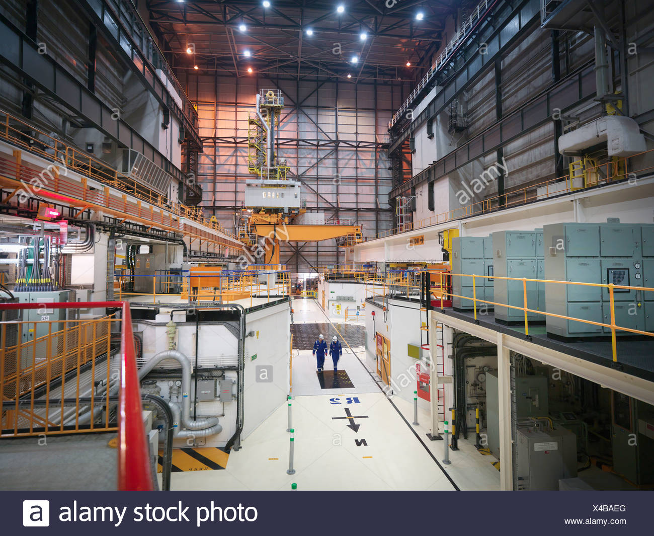 Interior view of reactor hall in nuclear power station - Stock Image