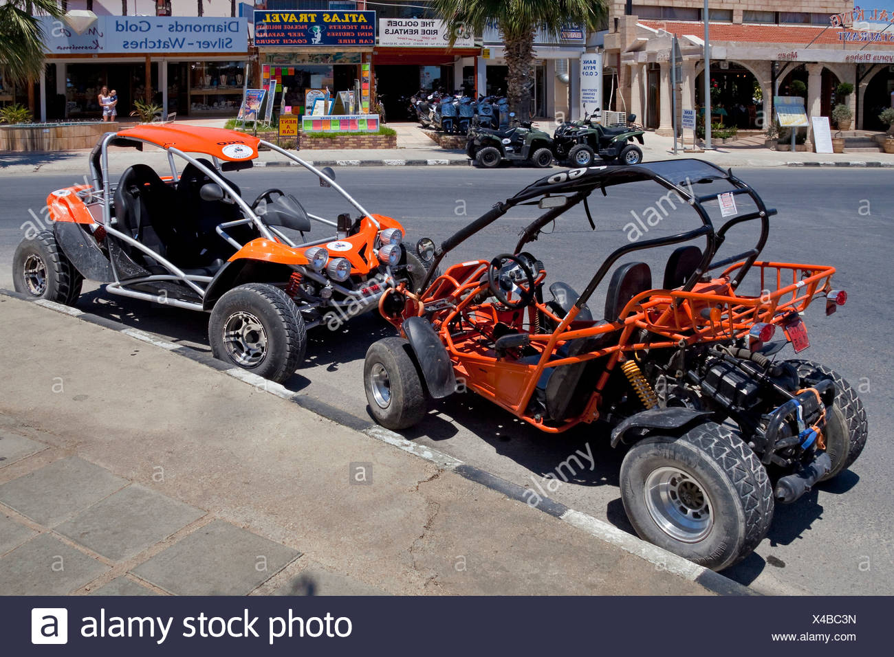 Various beach buggies at a car rental, Coral Bay, Southern, West Coast, Cyprus, Southern Europe, Europe Stock Photo