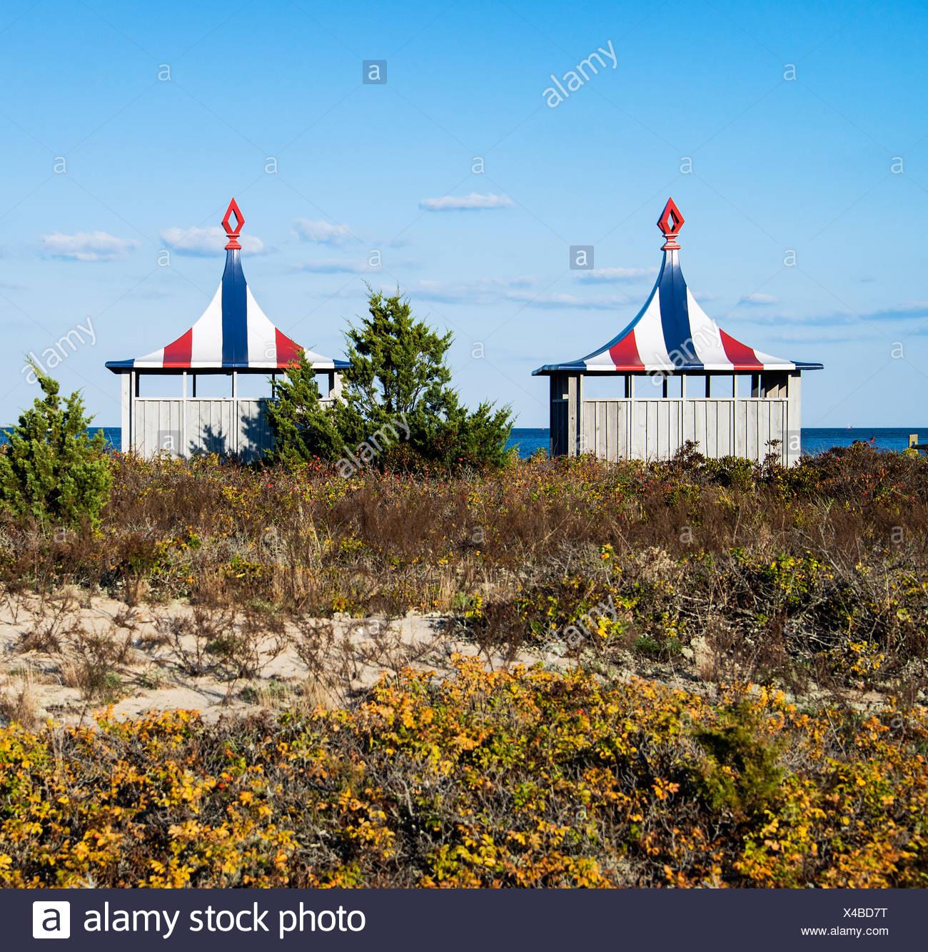 Beach huts at the Chappaquiddick Beach Club, Martha's Vineyard, Massachusetts, USA - Stock Image