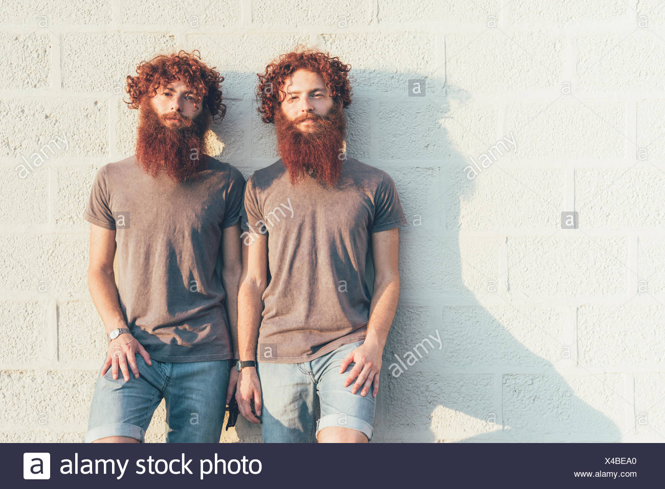 Portrait of identical adult male twins with red hair and beards against wall - Stock Image