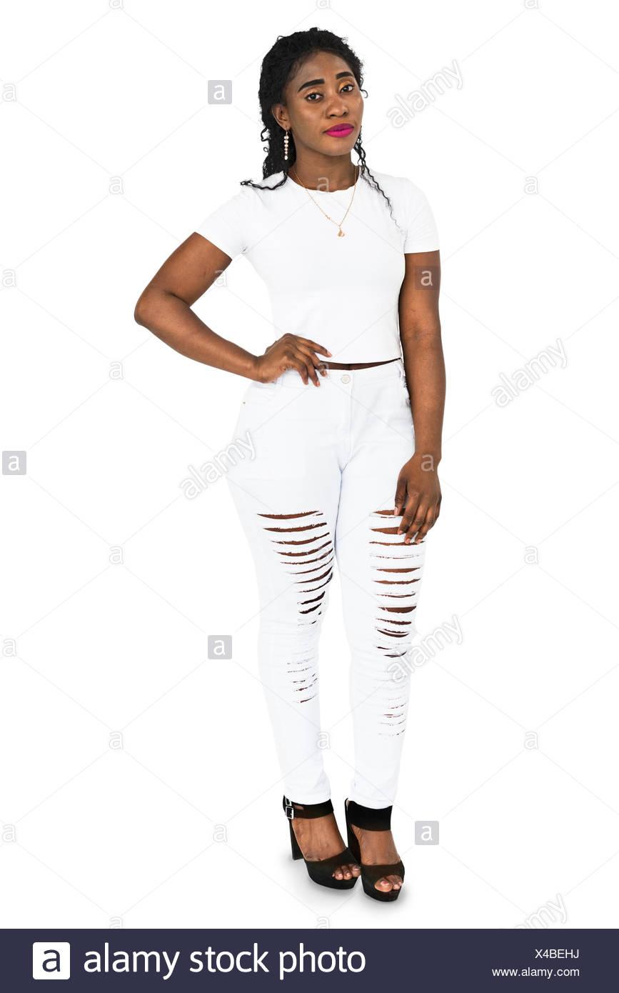 Female Standing Pose Studio Concept - Stock Image