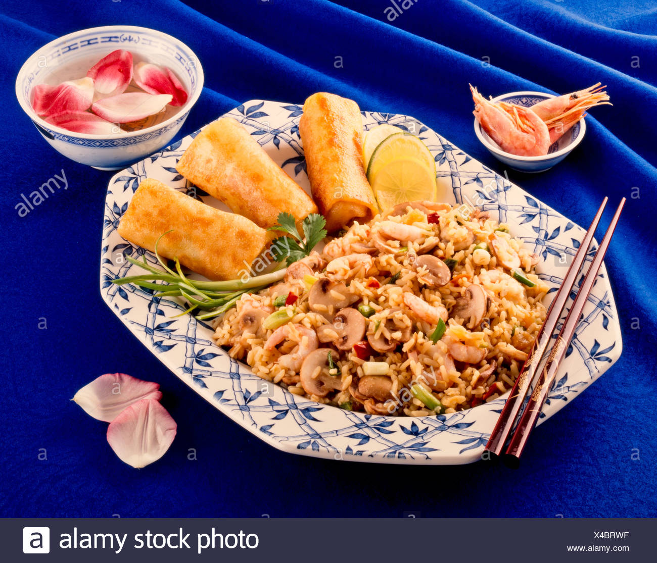 PRAWN OR SHRIMP STIR FRIED RICE WITH SPRING ROLLS - Stock Image