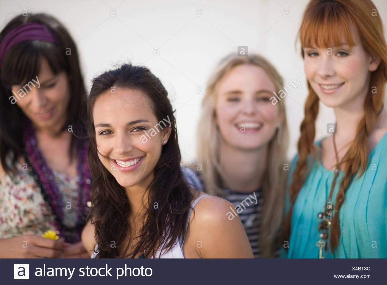 4 Girl friends having fun - Stock Image